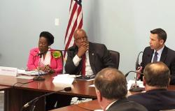 Democratic U.S. Reps. Sheila Jackson Lee of Texas and Bennie Thompson of Mississippi listen as the U.S. acting secretary of homeland security, Kevin K. McAleenan, speaks Tuesday, Aug. 13, 2019, at a federal building in Jackson, Miss.