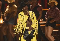 """Lil Nas X performs """"Old Town Road"""" at the BET Awards."""