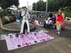 A street art display honoring Elvis Presley is shown at the candlelight vigil at Graceland that commemorates his death 42 years ago.