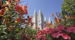 This Aug. 4, 2015 file photo, flowers bloom in front of the Salt Lake Temple, at Temple Square, in Salt Lake City.