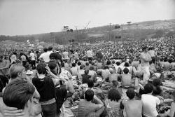 This Aug. 14, 1969 file photo shows a portion of the 400,000 concert goers who attended the Woodstock Music and Arts Festival held on a 600-acre pasture near Bethel, N.Y.