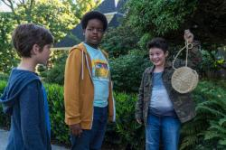 """This image released by Universal Pictures shows Jacob Tremblay, from left, as Max, Keith L. Williams as Lucas and Brady Noon as Thor in the film, """"Good Boys,"""""""