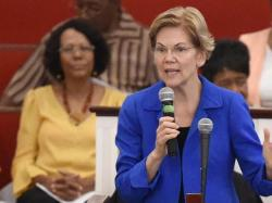 Democratic presidential hopeful Elizabeth Warren addresses congregants at Reid Chapel AME Church.