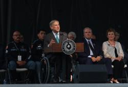 Gov. Greg Abbott speaks during a memorial service for the victims of the Aug. 3 mass shooting, Wednesday, Aug. 14, 2019, at Southwest University Park, in El Paso, Texas