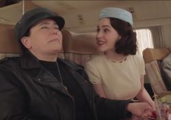 "Alex Borestein, left, and Rachel Brosnahan, right, in the trailer for ""The Marvelous Mrs. Maisel"" Season 3"