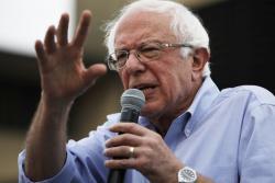 Democratic presidential candidate Sen. Bernie Sanders, I-Vt., speaks at the Iowa State Fair, Sunday, Aug. 11, 2019, in Des Moines, Iowa