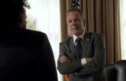 "Kiefer Sutherland as Tom Kirkman in ""Designated Survivor."""