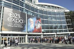 People line up in front of the Anaheim Convention Center during the 2019 D23 Expo on Saturday, Aug. 24, 2019, in Anaheim, Calif.