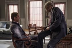 "This image released by Lionsgate shows Gerard Butler, left and Morgan Freeman in ""Angel Has Fallen,"" directed by Ric Roman Waugh"