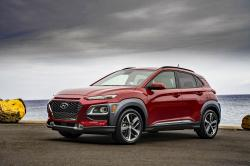 This undated photo provided by Hyundai shows the 2019 Hyundai Kona, an example of a compact SUV on which shoppers will find discounts averaging about $1,400 over the Labor Day weekend