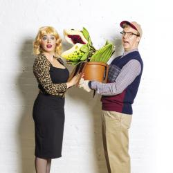 """Katrina Z. Pavao and Dan Prior (along with Audrey 2) in """"Little Shop of Horrors"""" at the Lyric Stage Company through October 4."""