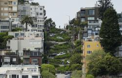 In this April 15, 2019, file photo, cars wind their way down Lombard Street in San Francisco