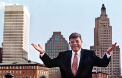 "In this October 1998 file photo, Providence Mayor Vincent ""Buddy"" Cianci Jr., poses before the city skyline in Providence, R.I."