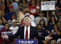 In this May 24, 2016 file photo, Republican then-presidential candidate Donald Trump speaks at a campaign event in Albuquerque, N.M.