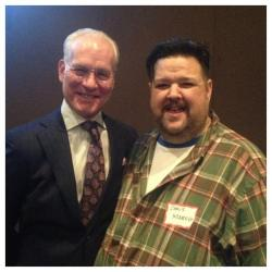 """Project Runway"" host Tim Gunn, left, with designer Chris March, right."