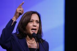 Democratic presidential candidate Sen. Kamala Harris, D-Calif., speaks during the New Hampshire state Democratic Party convention, Saturday, Sept. 7, 2019, in Manchester, NH.