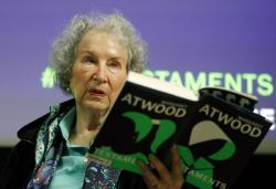 Canadian author Margaret Atwood speaks during a press conference at the British Library to launch her new book 'The Testaments' in London, Tuesday, Sept. 10, 2019
