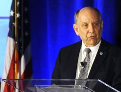 National Weather Service Director Louis Uccellini addresses a meeting of the National Weather Association in Huntsville, Ala., Monday, Sept. 9, 2019