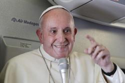 Pope Francis addresses journalists during his flight from Antamanarivo to Rome.