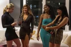 "From left, Lili Reinhart, Jennifer Lopez, Keke Palmer, and Constance Wu in a scene from ""Hustlers."""