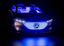 A Mercedes 'Vision EQS' car is displayed at the IAA Auto Show in Frankfurt, Germany, Wednesday, Sept. 11, 2019