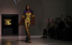Model Naomi Campbell walks the runway at the Fashion For Relief charity event.