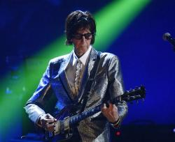 Ric Ocasek, from the Cars, performs during the Rock and Roll Hall of Fame Induction ceremony in Cleveland.