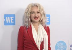Cyndi Lauper arrives at WE Day California at The Forum, in Inglewood, Calif.