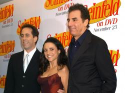Jerry Seinfeld, left, Julia Louis Dreyfus and Michael Richards arrive to celebrate the release of the first three seasons of Seinfeld on DVD in New York.