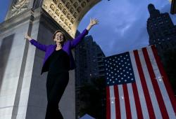 Democratic presidential candidate U.S. Sen. Elizabeth Warren takes the stage before addressing supporters at a rally, Monday, Sept. 16, 2019, in New York.