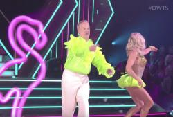 """Sean Spicer, left, with his dancing partner Lindsay Arnold on """"Dancing with the Stars."""""""