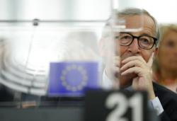 European Commission President Jean-Claude Juncker listens Wednesday, Sept. 18, 2019 in Strasbourg, eastern France, as members of the European Parliament discuss the current state of play of the UK's withdrawal from the EU