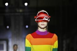 A model wears a creation as part of the Benetton Spring-Summer 2020 collection.