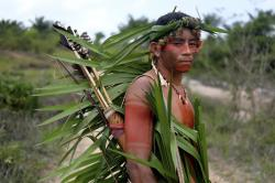 Indigenous Tembe warrior Ronilson Tembe poses for a portrait on the Alto Rio Guama indigenous reserve as he waits for police to arrive with other members of his tribe in Para state, Brazil, Wednesday, Sept. 4, 2019