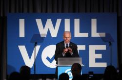 "In this June 6, 2019, file photo, Democratic presidential candidate former Vice President Joe Biden speaks during the ""I Will Vote"" fundraising gala in Atlanta"