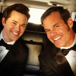 Andrew Rannells, left, and Tuc Watkins, right.