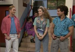 "Mark-Paul Gosselaar, left, Elizabeth Berkley, center, and Mario Lopez, right, reuniting as their ""Saved by the Bell"" characters on ""The Tonight Show."""