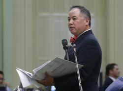 In this Thursday, Sept. 12, 2019 photo, Assemblyman Phil Ting addresses the Assembly in Sacramento, Calif.