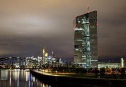 The European Central Bank stands next the buildings of the banking district in Frankfurt, Germany, Tuesday, Sept. 17, 2019