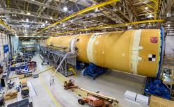 This August 2019 photo released by NASA, shows the core stage for NASA's Space Launch System (SLS) rocket at the agency's Michoud Assembly Facility in New Orleans