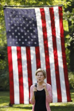 Democratic presidential candidate Sen. Elizabeth Warren speaks during a house party, Friday, Sept. 20, 2019, in Mount Vernon, Iowa. (AP Photo/Charlie Neiberg