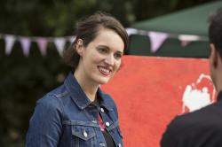 "This image released by Amazon shows Phoebe Waller-Bridge in a scene from ""Fleabag."""