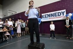 Democratic U.S. Rep. Joseph Kennedy III, D-Mass., announces his candidacy for the Senate on Saturday, Sept. 21, 2019, in Boston.