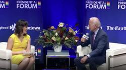 Lyz Lenz and Joe Biden at Friday's forum on LGBTQ issues in Iowa