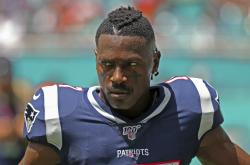 In this Sunday, Sept. 15, 2019, photo, New England Patriots wide receiver Antonio Brown