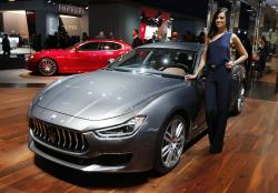 This Sept. 24, 2017 file photo shows a Maserati Ghibli Granlusso on display during the first media day of the International Frankfurt Motor Show IAA in Frankfurt, Germany