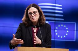 European Commissioner for Trade Cecilia Malmstrom speaks during a media conference after an informal lunch of EU trade ministers at the Europa building in Brussels, Tuesday, Oct. 1, 2019