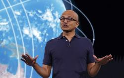 In this May 6, 2019 file photo, Microsoft CEO Satya Nadella delivers the keynote address at Build, the company's annual conference for software developers in Seattle