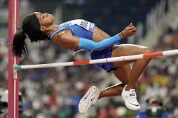 Erica Bougard, of the United States, competes in the women's heptathlon high jump at the World Athletics Championships in Doha, Qatar.