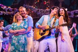 "From L to R: Shelly Lynn Walsh, Peter Michael Jordan, Chris Clark and Sarah Hinrichsen in ""Escape to Margaritaville."" (Photo by Matthew Murphy.)"